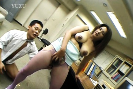 Playful office lady Yui Tokui deepthroats two guys gets her anal banged