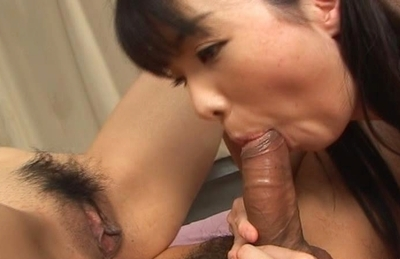 Frisky Asian gals Saki and Miki share hard cock get anal holes banged