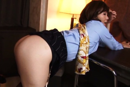 Beautiful stewardess Sayuri Kinsei in hardcore Japanese anal sex