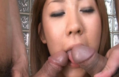 Girl in wet clothes Karin Tsubaki enjoys pussy and anal stimulation